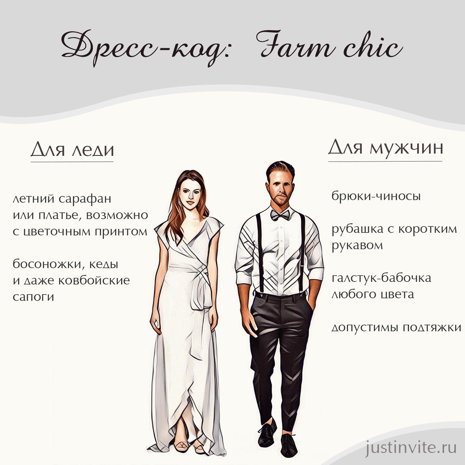 Дресс-код Farm chic для женщин и мужчин на свадьбу, день рождения или вечеринку.